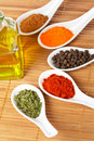 Spices and oil bottle Royalty Free Stock Photography