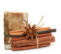Spices and old recipe book on white background Royalty Free Stock Image