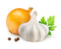 Spices onion and garlic over white background Royalty Free Stock Photos