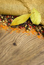 Spices pepper macro background organic with dried and colorful on wooden texture Stock Images