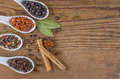 Spices in porcelain spoons various on a wooden background Stock Photos