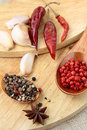 Spices - red and black pepper Stock Images