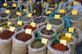 Spices for sale different in bazaar Stock Photos