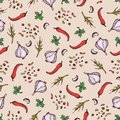 Spices seamless pattern on a beige background. Pparsley, garlic, cloves, pepper. Cartoon style illustration. Background for textil