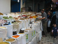Spices seller at the Souk. Sousse. Tunisia Royalty Free Stock Photo