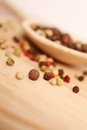 Spices in spoon close up of wooden on wooden surface Stock Images