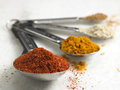 Spices turmeric white pepper and chili powder in spoon Royalty Free Stock Photo