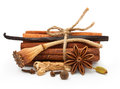Spices vanilla star anise cinnamon sticks ginger isolated on white background Royalty Free Stock Image