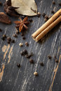 Spices on Weathered Timber Stock Photo