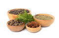 Spices in a wooden bowl Royalty Free Stock Photo