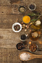 Spices on a wooden table background different Stock Photography