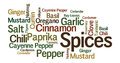 Spices word art with assorted Stock Images