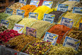 Spices with written names and tea on istanbul market Stock Photography