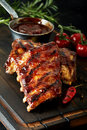 Spicy barbecued marinaded chili spare ribs Royalty Free Stock Photo