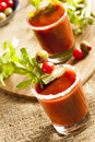 Spicy bloody mary alcoholic drink with a tomato garnish Stock Photo