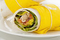 Spicy chicken wraps delicious in tortillas ready to serve Stock Image