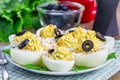 Spicy deviled eggs Royalty Free Stock Photo