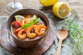 Spicy french soup with seafood Royalty Free Stock Photo