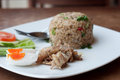 Spicy fried rice with fried fish with salted egg Royalty Free Stock Image