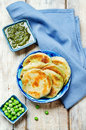 Spicy green peas Flatbread. Bengali Matar Kachori. Indian cuisin