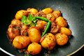 Spicy indian potato curry back pepper dum aloo a vegetarian preparation Royalty Free Stock Image