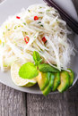 Spicy kohlrabi noodles Royalty Free Stock Photo