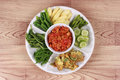 Spicy meat and tomato dip call Nam Prik Ong. Royalty Free Stock Photo