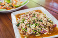 Spicy minced pork salad with roasted rice powder Royalty Free Stock Photo