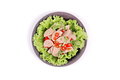 Spicy mixed vegetable salad with sliced Thai white pork sausage Royalty Free Stock Photo