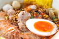 Spicy noodle with  boiled egg chinese food style Royalty Free Stock Photo