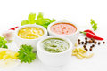 Spicy sauces group of with ingredients Royalty Free Stock Photography