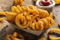 Spicy seasoned curly fries ready to eat Royalty Free Stock Photo
