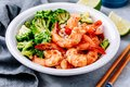Spicy Shrimp Burrito Bowl with cilantro lime rice and broccoli Royalty Free Stock Photo