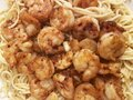 Spicy Shrimp Over Pasta Royalty Free Stock Photo