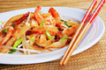 Spicy Shrimp Pad Thai Royalty Free Stock Photo