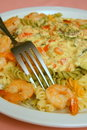Spicy shrimp pasta Stock Images