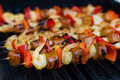 Spicy shrimp and sausage skewer Royalty Free Stock Photo