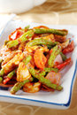 Spicy squid fried with long bean oriental and onion Royalty Free Stock Photography