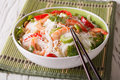 Spicy Thai salad yam woon sen with seafood close up. horizontal Royalty Free Stock Photo