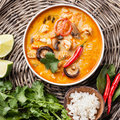 Spicy Thai soup Tom Yam Royalty Free Stock Photo