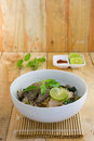 Spicy tom yom noodle with pork thai style Stock Image