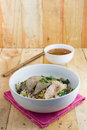 Spicy tom yom noodle with pork thai style and soup Stock Photo