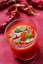 Spicy tomato soup Stock Photo