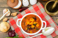 Spicy vegetable soup with red beans and pumpkin Royalty Free Stock Photo