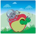 Spider and caterpillar on apple vector funny with an Royalty Free Stock Photos