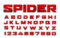 Spider font. Spiderman alphabet. Black letters on Red background. Royalty Free Stock Photo