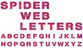 Spider web letters each letter of alphabet is made as if it had a on it Royalty Free Stock Image