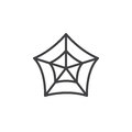 Spider web line icon, outline vector sign, linear style pictogram isolated on white