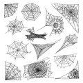 Spider web set, vector illustration. Royalty Free Stock Photo