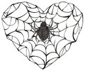 Spider wove web of heart shape. Heart symbol of love. Gothic love heart Royalty Free Stock Photo